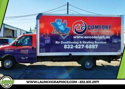 Launch Graphics Wraps Houston  AC-Comfort-Box-Truck-Wrap