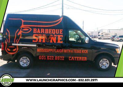 Launch Graphics Wraps Houston  BBQ-Shine-Van