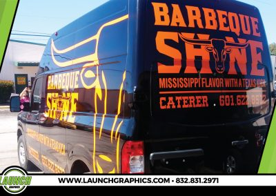 Launch Graphics Wraps Houston  BBQ-Shine-Van-Rear