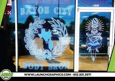 Launch Graphics Houston Bayou-City-Body-Shop-Window-Decal