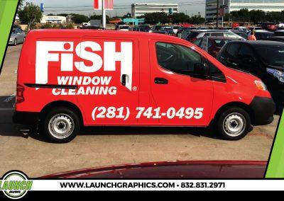 Launch Graphics Wraps Houston  Fish-Window-Cleaning-Van
