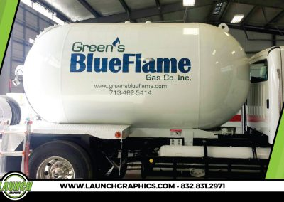 Launch Graphics Wraps Houston  Greens-Blue-Flame-Tank-Truck