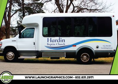 Launch Graphics Wraps Houston  Hardin-Church-Bus