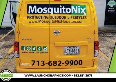 Launch Graphics Wraps Houston  Mosquito-Nix-Van-Rear