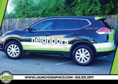 Launch Graphics Wraps Houston  Neighbors-Green-SUV