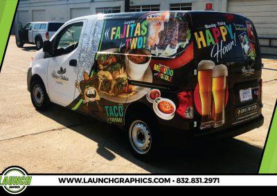 Launch Graphics Wraps Houston  la-Perla-De-Jalisco-Van-Rear